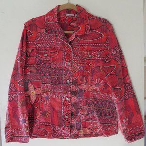 Chico Red Print Denim-ish jacket. Light weight